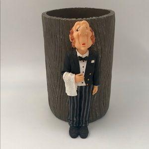 Vintage Rare Butler/Waiter Statue Figure w/ Holder